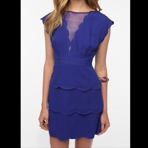 UO Scalloped Peplum Dress in Indigo